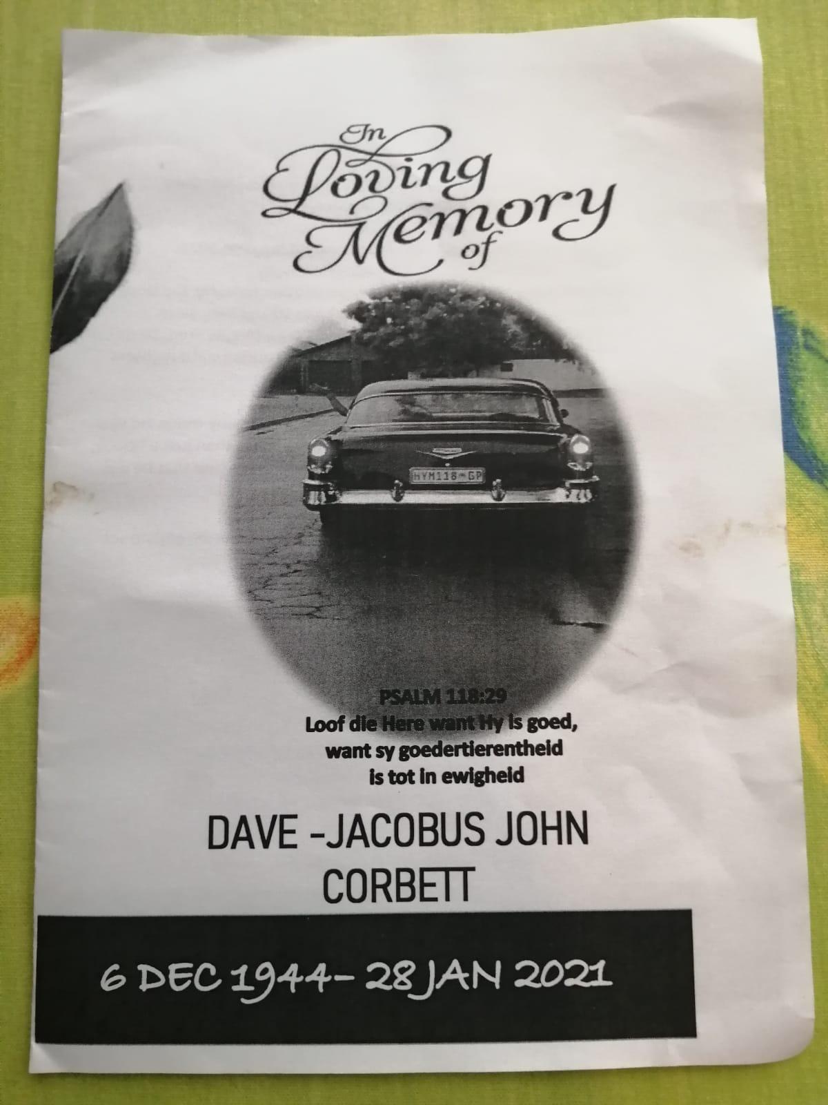 Dave Corbett Memorial - RIP 2021-01-28
